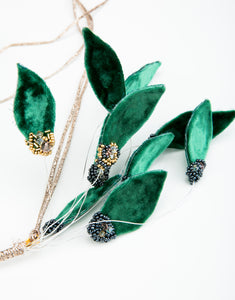 Close up of green velvet leaves with clustered bead detailing