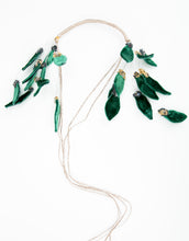 Load image into Gallery viewer, Flat lay of beaded headband with velvet leaf details and long tie