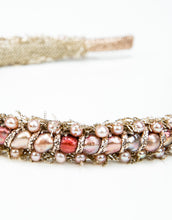 Load image into Gallery viewer, Close up of pink pearl embellishments on a gold mesh headband