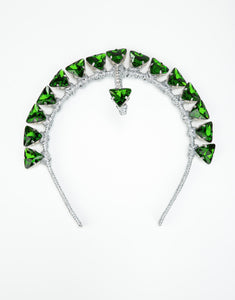 Silver headband embellished with green triangle crystals