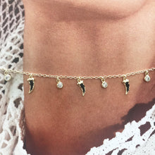 Load image into Gallery viewer, Close up of Gold choker with white sapphire and black spinel charms