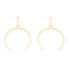 Load image into Gallery viewer, Gold C shape drop earrings