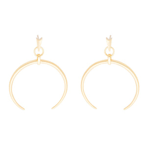 Gold C shape drop earrings