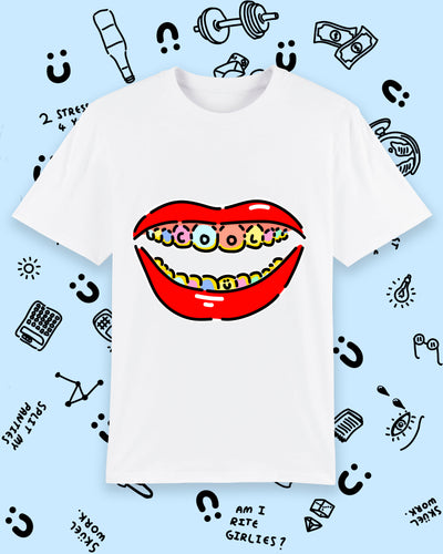 White T-shirt with illustration of a mouth with cool written on teeth