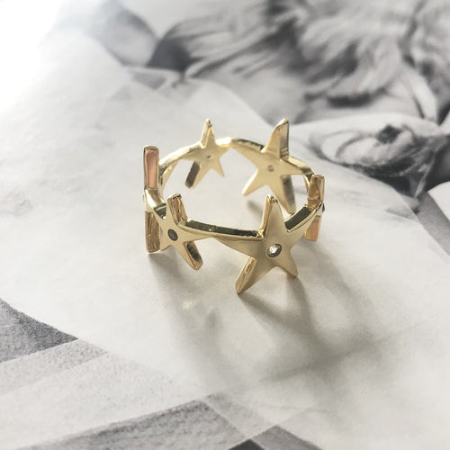 Super Cluster Ring Gold