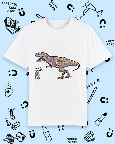 White tee shirt with coloured T-rex illustration