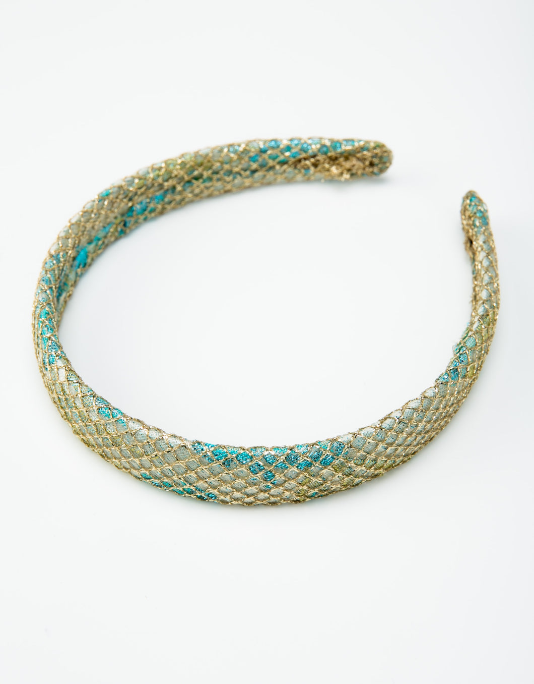 Gold and blue brocade headband with gold netting overlay