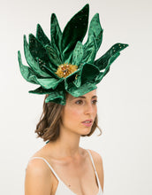 Load image into Gallery viewer, Woman wearing large emerald velvet flower fascinator with bead detailing
