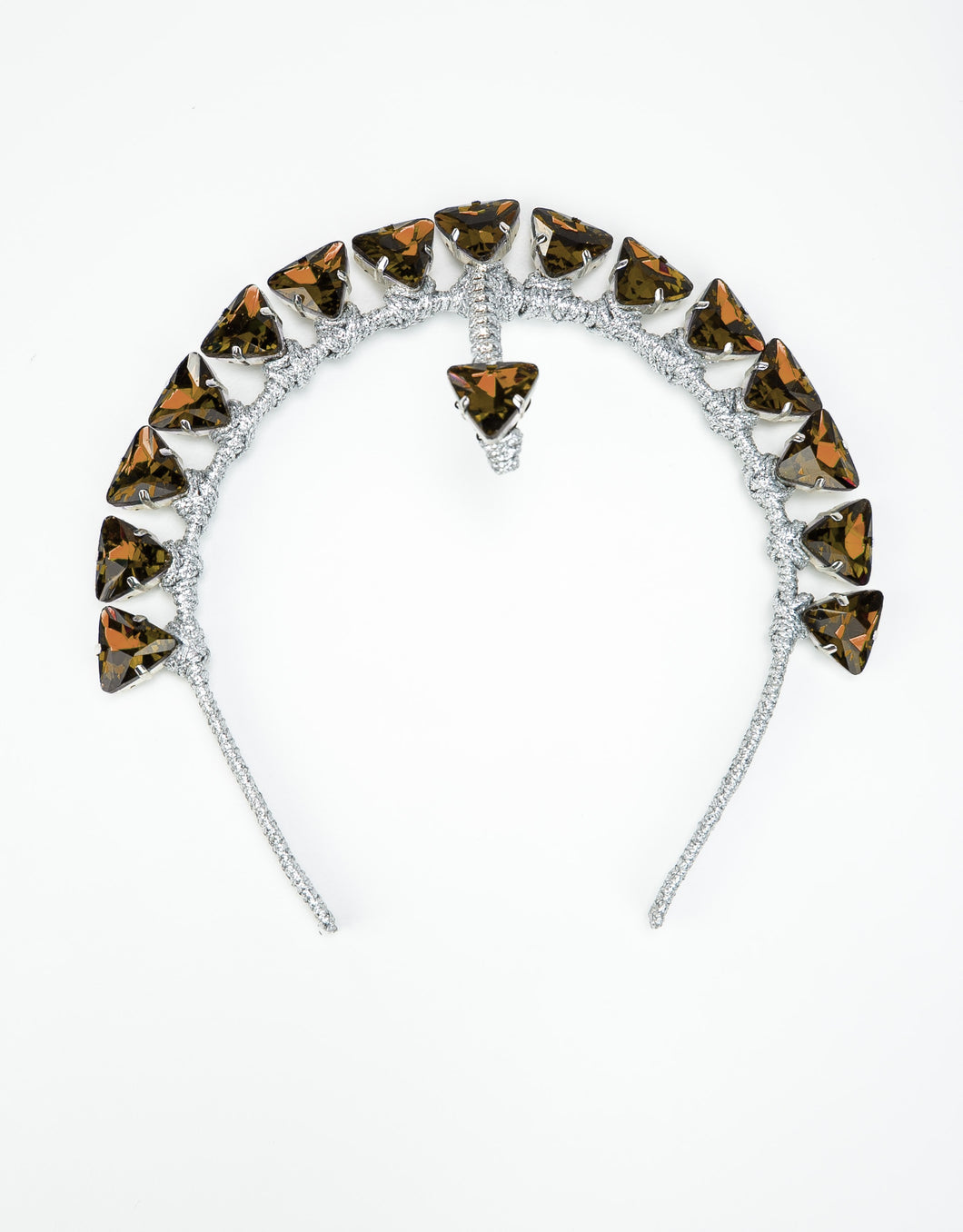 Handmade silver headband with topaz triangle crystals