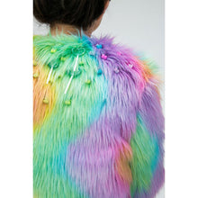 Load image into Gallery viewer, Close up of rainbow fur jacket with lollipop and gummy bear bead decorations