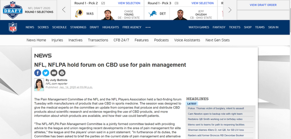 CBD for pain NFL FORUM