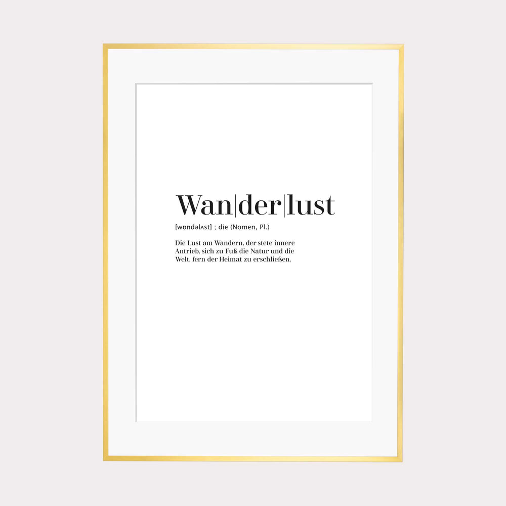 Art Print | Wanderlust - Worterklärung Definition à la Duden