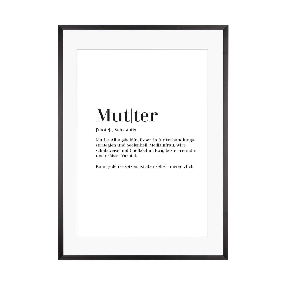 Art Print | Mutter - Worterklärung Definition à la Duden