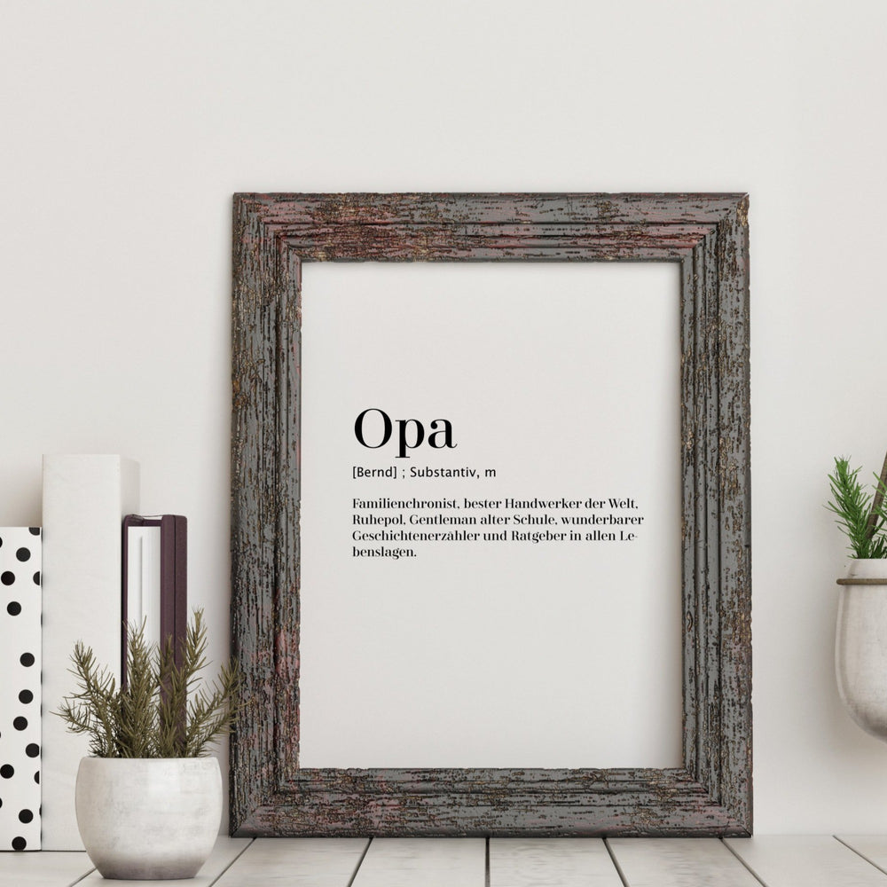 Art Print | Opa - Worterklärung Definition