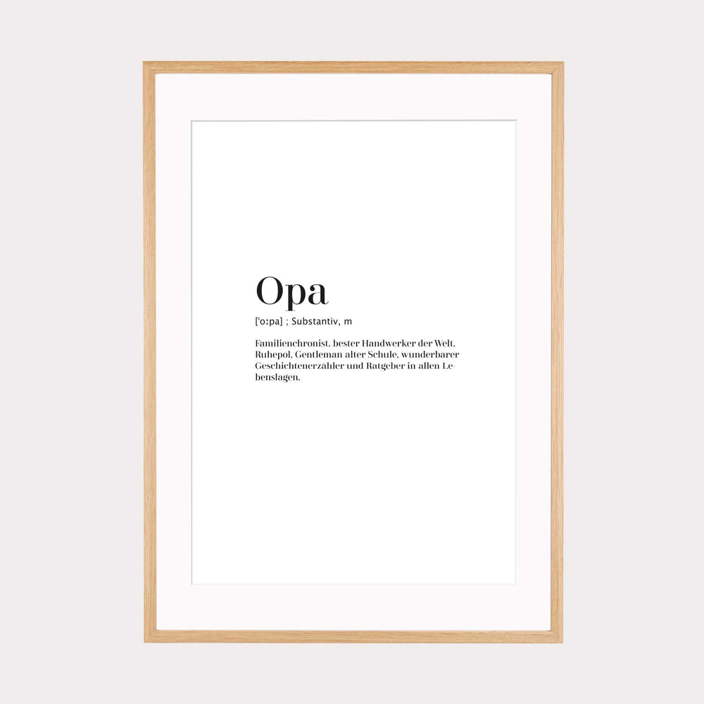 Art Print | Opa - Worterklärung Definition à la Duden