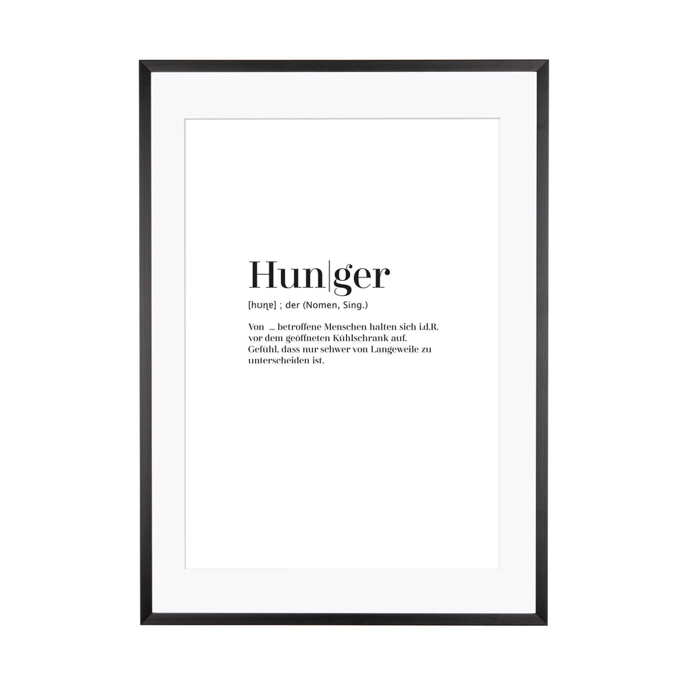 Art Print | Hunger - Worterklärung Definition à la Duden