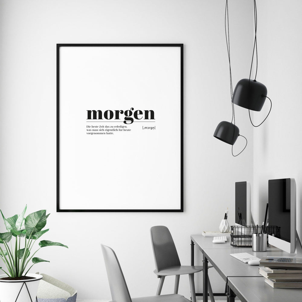 Art Print | morgen - Worterklärung Definition à la Duden