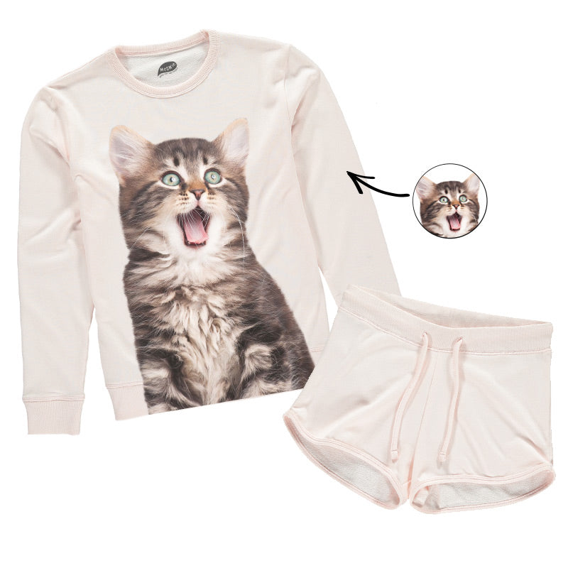 Cat Face Ladies Lounge Wear Short Set