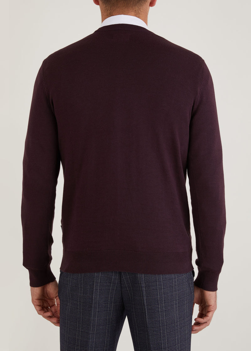 Bailey Crew Neck Jumper - Burgundy