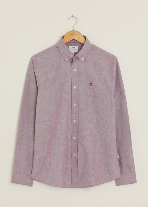 Castle Oxford Long Sleeve Shirt - Burgundy
