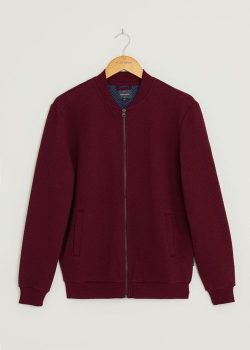 Harrier Fleece Bomber Jacket - Burgundy