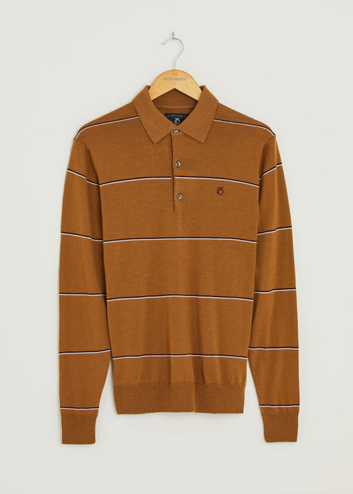 Hooped Long Sleeve Polo Shirt - Tan