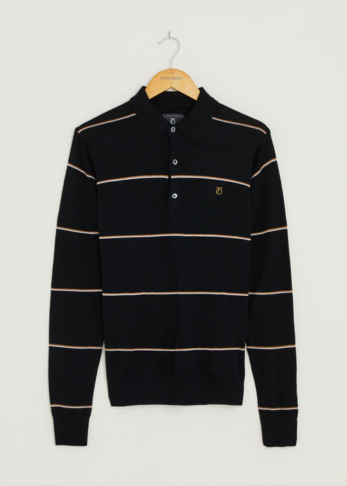 Hooped Long Sleeve Polo Shirt - Black