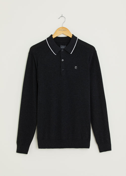Huxley Long Sleeved Knitted Polo - Dark Grey Marl