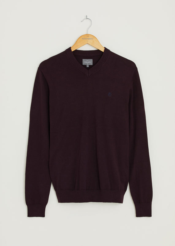 Melrose V Neck Jumper - Burgundy