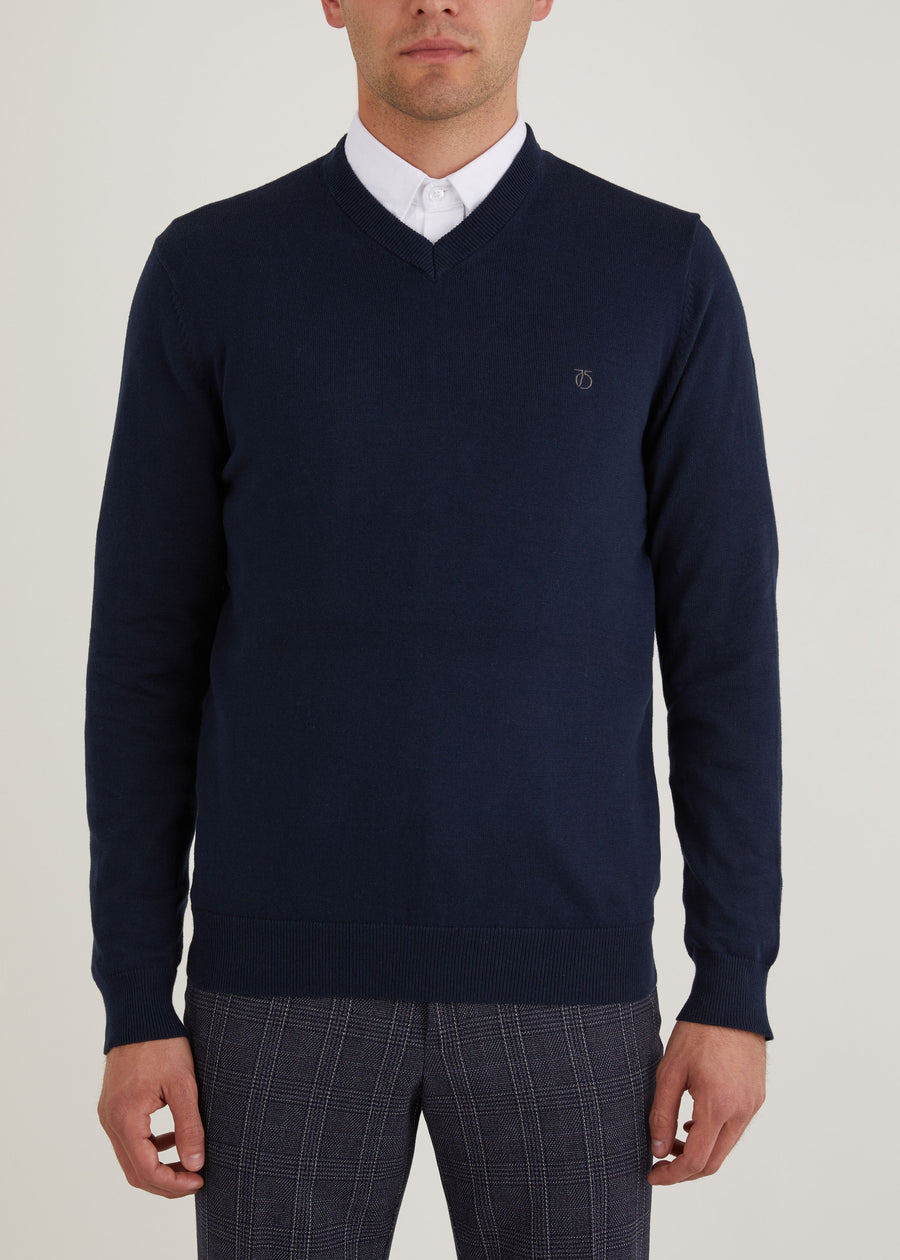 Melrose V Neck Jumper - Navy
