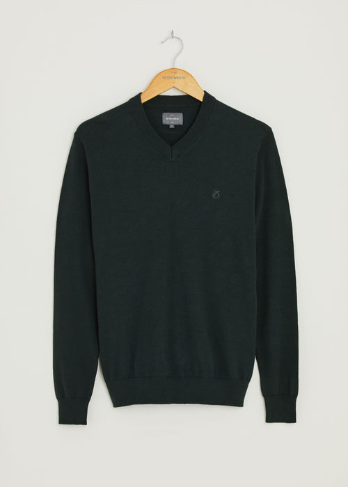 Melrose V Neck Jumper - Dark Green