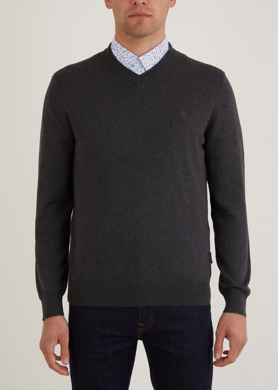 Melrose V Neck Jumper - Charcoal