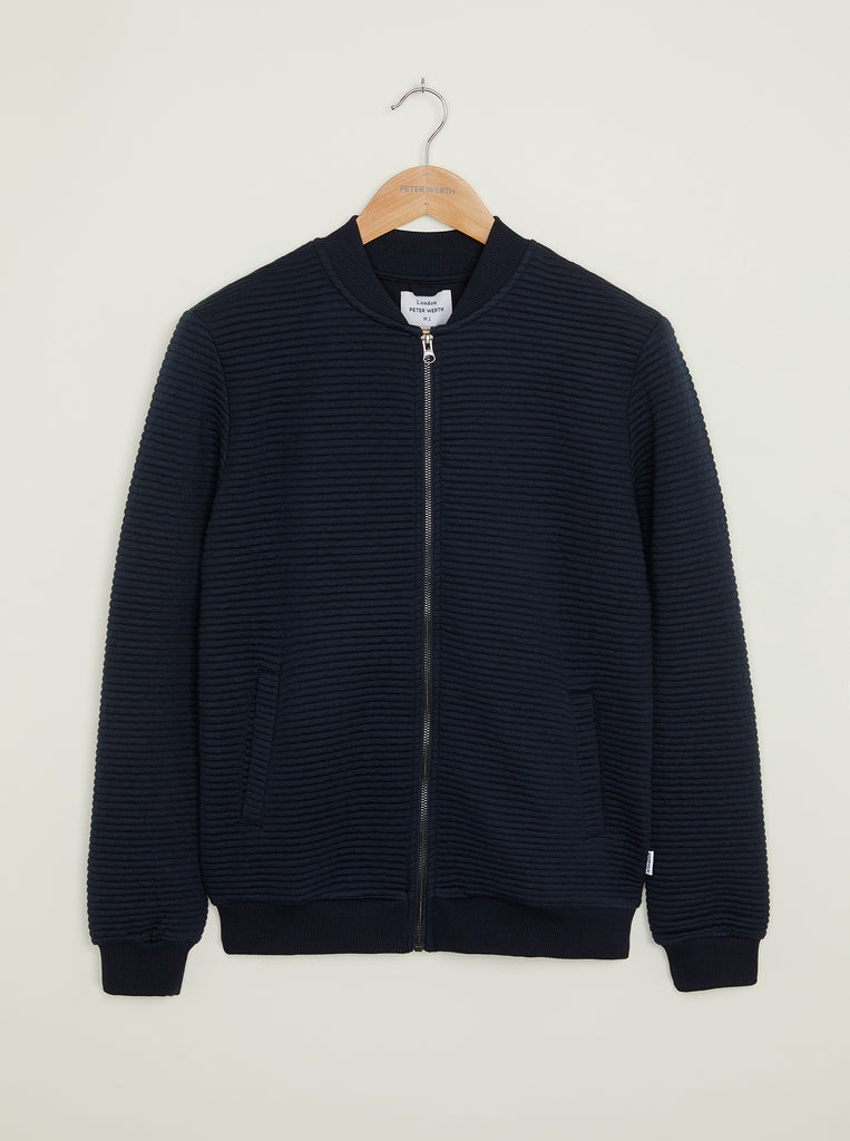 Hackney Textured Bomber Jacket - Navy