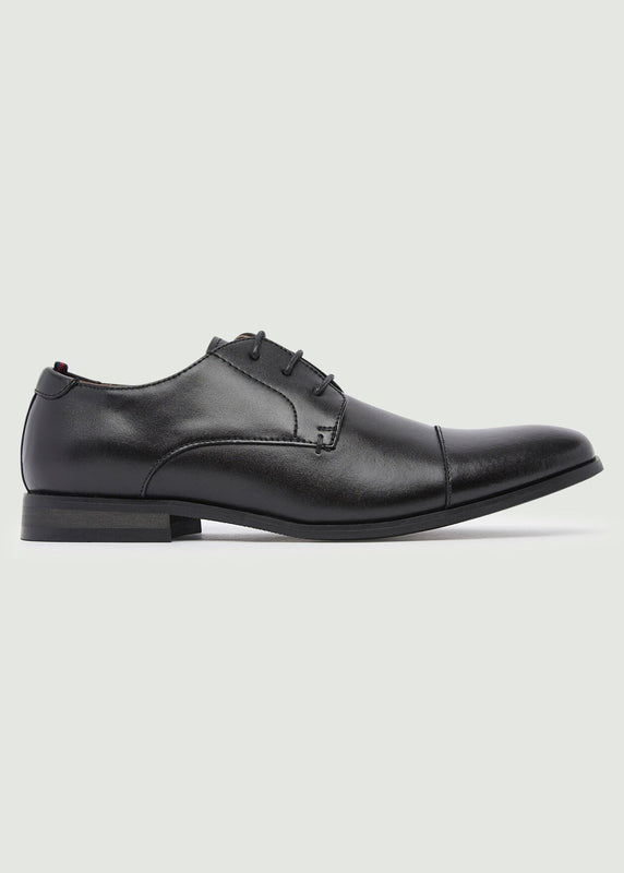 Curtis Toe Cap Derby Shoes - Black