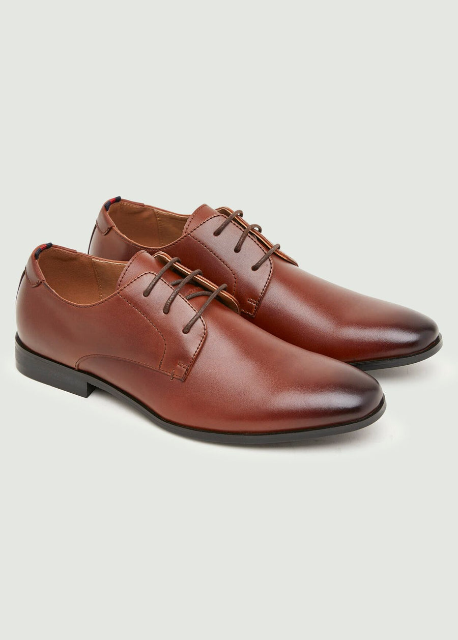 Curtis Plain Toe Derby Shoes - Tan