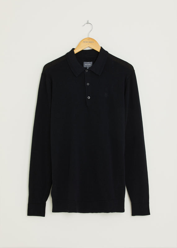 Hamilton Long Sleeved Polo - Black