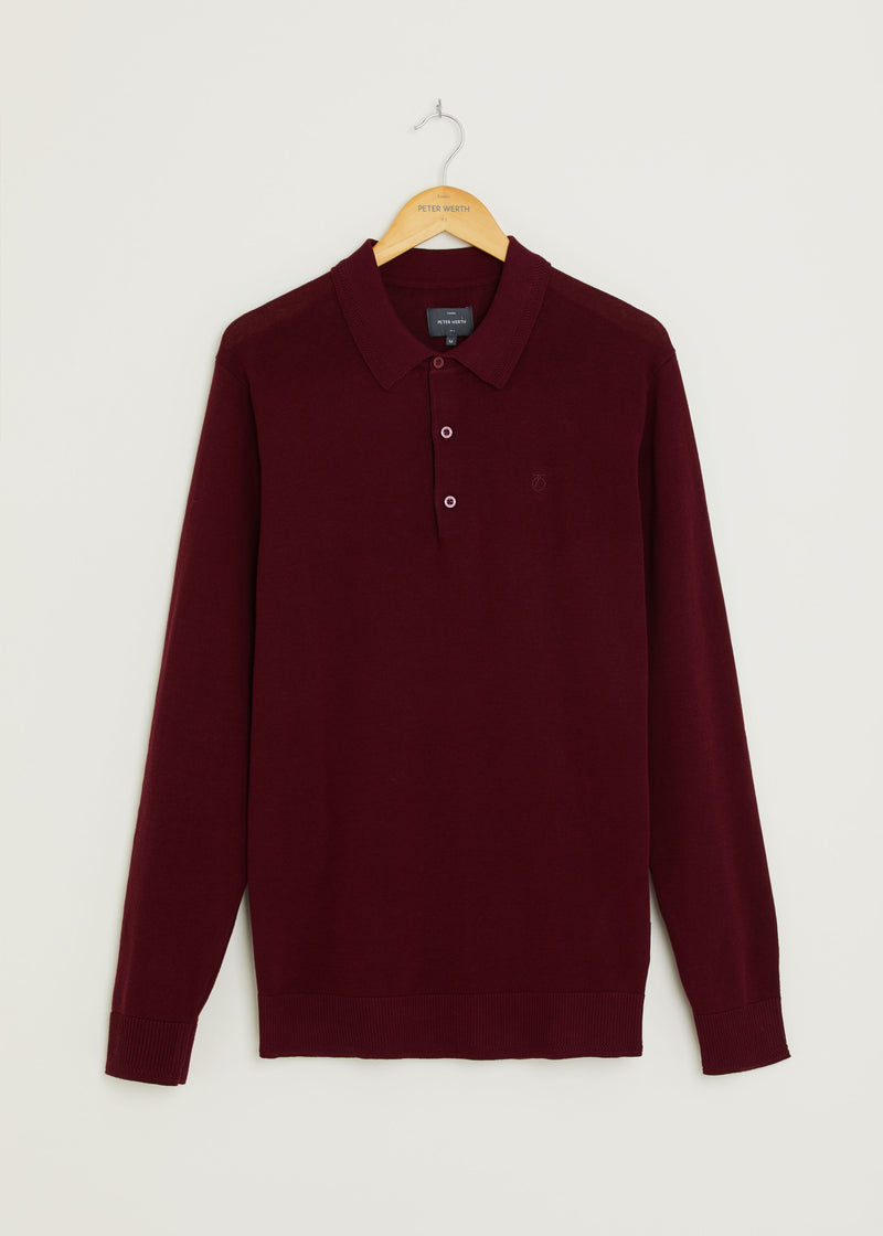 Hamilton Long Sleeved Polo - Burgundy