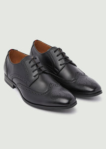 Harrison Round Toe Brogue Shoes - Black
