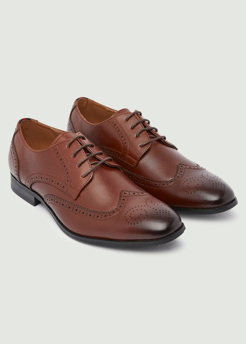 Harrison Round Toe Brogue Shoes - Tan