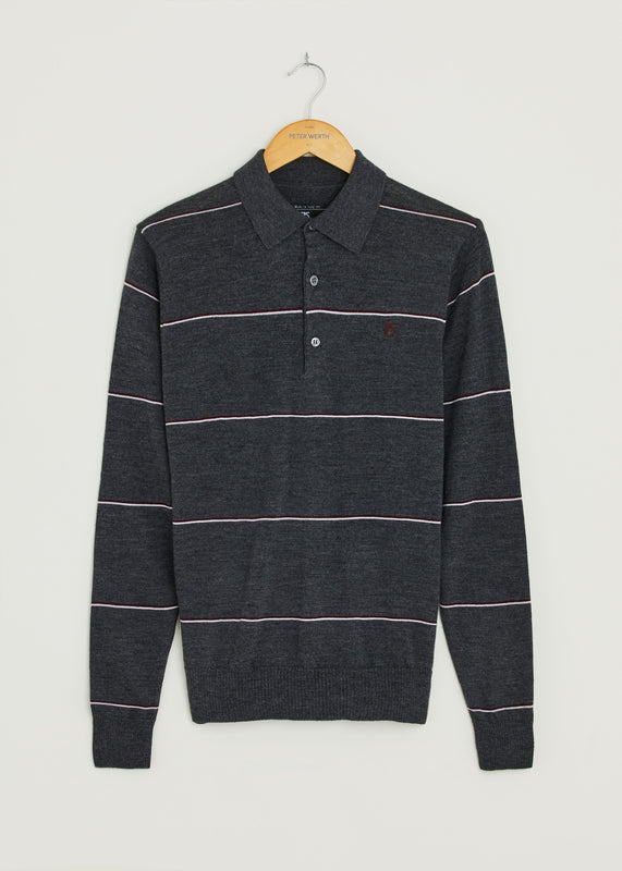 Hooped Long Sleeve Polo Shirt - Charcoal
