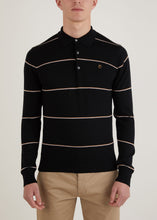 Load image into Gallery viewer, Hooped Long Sleeve Polo Shirt - Black