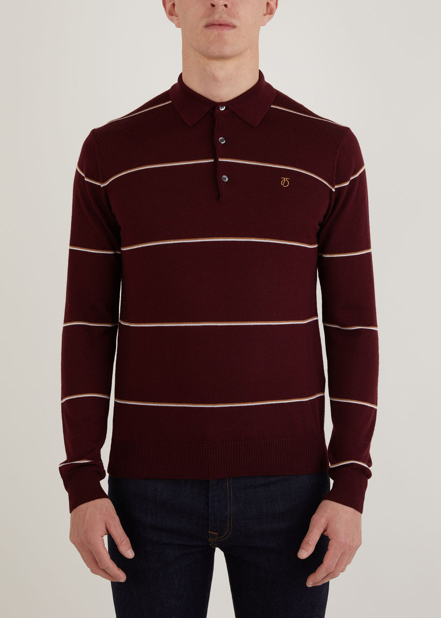 Hooped Long Sleeve Polo Shirt - Burgundy