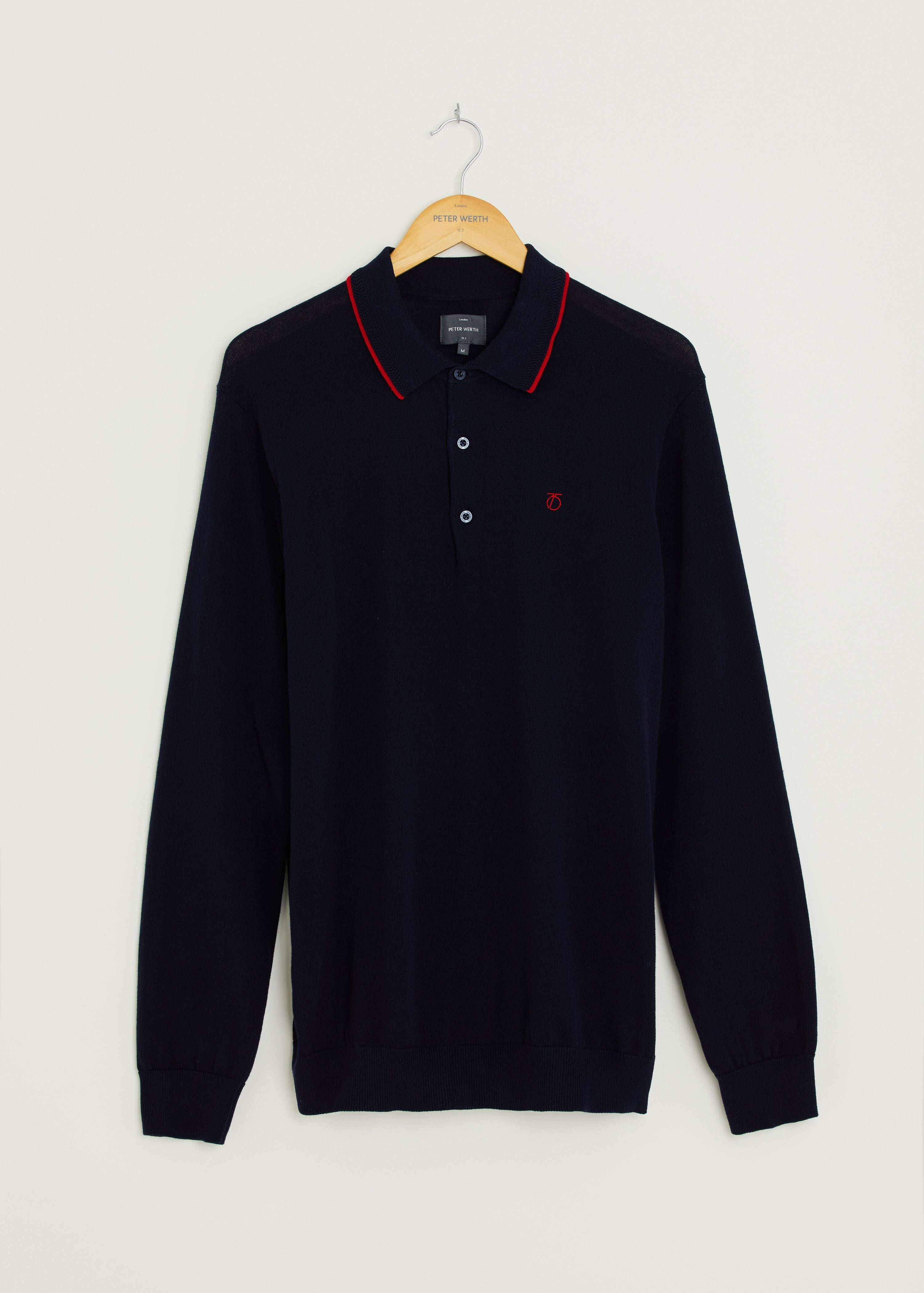 Huxley Long Sleeved Knitted Polo - Navy