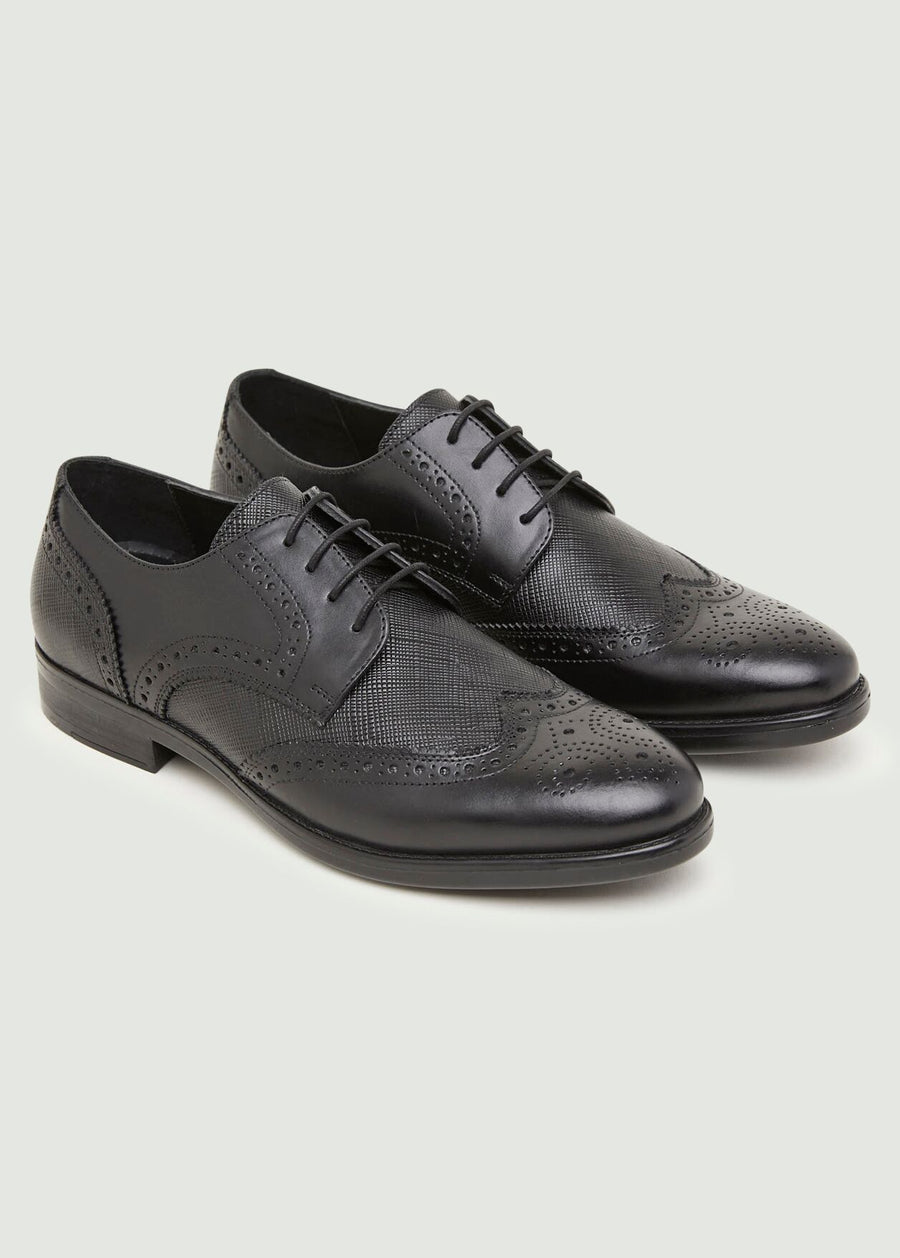 Madrid Textured Brogue - Black