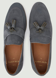 Moorhouse Tassle Suede Loafers - Grey