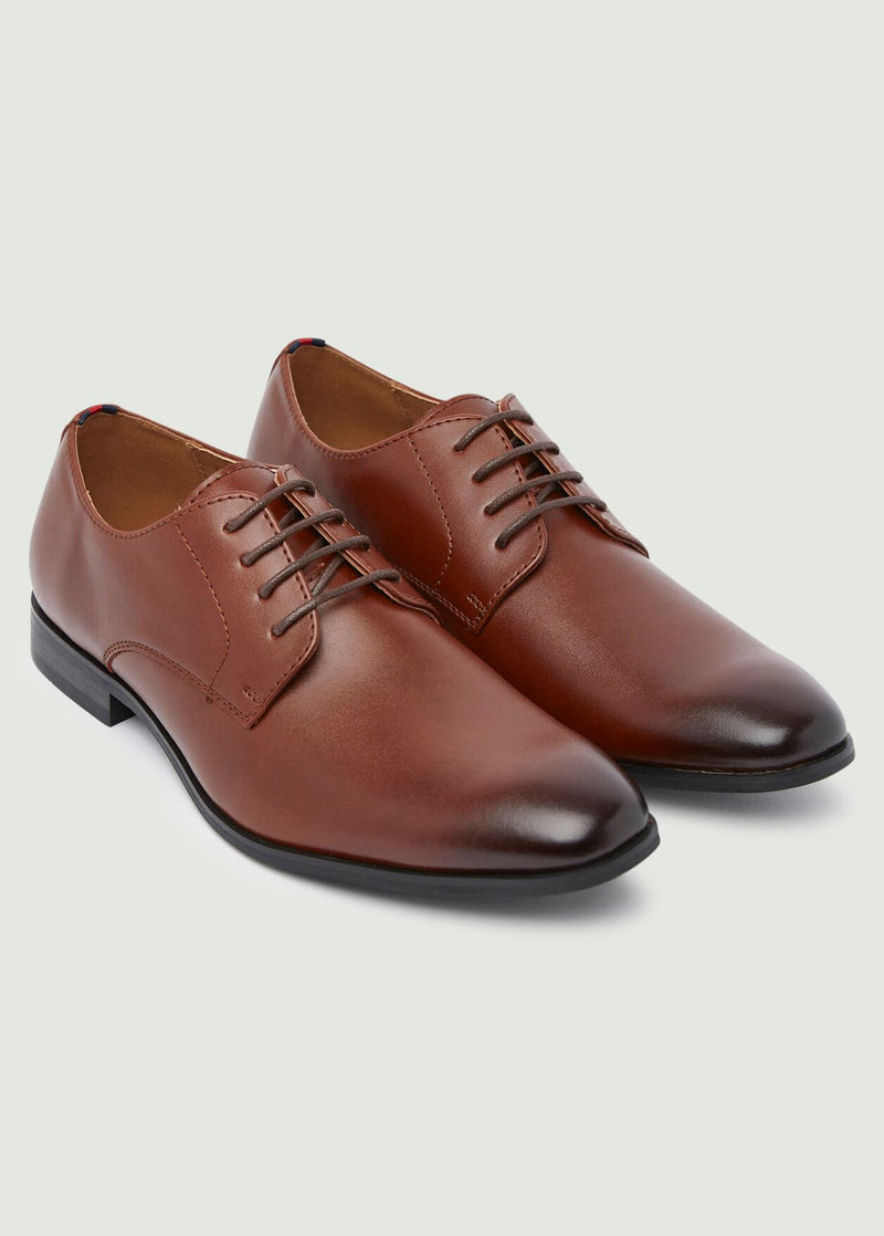 Smith Plain Toe Derby Shoes - Tan