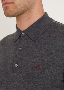 Tipped Long Sleeve Polo Shirt - Charcoal
