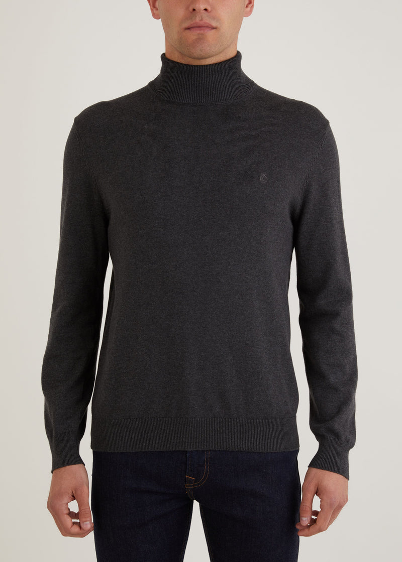 Wright Roll Neck Jumper - Charcoal