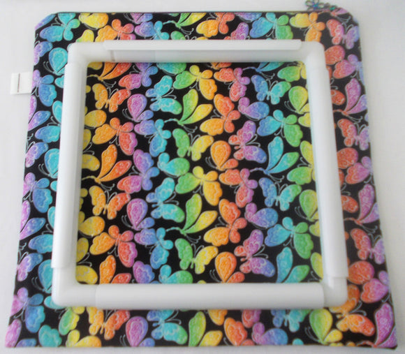 Large Craft/Cross Stitch Project Bag - Shimmery Rainbow Butterflies Print