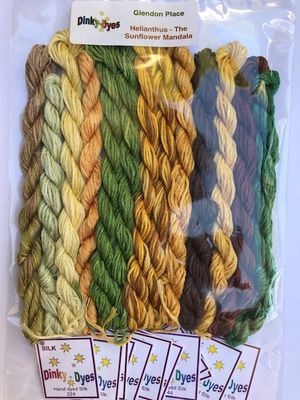 Dinky Dyes Silk  - Glendon Place Helianthus (The Sunflower Mandala) Silk Floss Pack - Pre-Order
